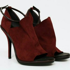 Balenciaga Burgundy Ankle-strap Booties
